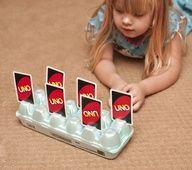 Egg carton - card holder for little hands