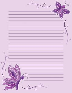 Free printable purple butterfly stationery in JPG and PDF formats. Printable Lined Paper, Free Printable Stationery, Free Printables, Page Borders Design, Butterfly Template, Notebook Paper, Writing Paper, Letter Writing, Journal Paper