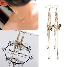 Womens Decent Crystal Butterfly Gold Silver Long Tassels Drop Dangle Earrings