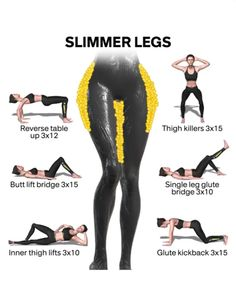 Slim Legs Workout, Full Body Gym Workout, Gym Workout Videos, Gym Workout For Beginners, Fitness Workout For Women, Fitness Workouts, Butt Workout, At Home Workouts, Fitness Motivation