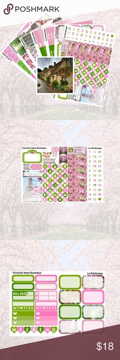 """Le Printemps Kit, Erin Condren Planner Stickers """"Le Printemps""""  This kit includes 7 sheets and 1 freebie. They are made to fit the vertical ECLP. They are printed on non-removable glossy sticker paper. The decorative page flags are made to fit the EC neutral planner.   Seven page kit includes: Full Boxes Full Ombre Heart Checklists Headers/Little Things Half and Quarter Boxes/Habits Date Covers/Mini Icons Washi Glitter Headers/Flags/Quarter Boxes  The extra is the double box. Other"""