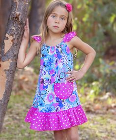 This Hot Pink Wild Floral Angel-Sleeve Dress - Infant, Toddler & Girls by Ruby and Rosie is perfect! #zulilyfinds