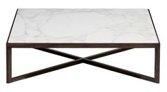 KRUSIN SQUARE COFFEE TABLE OAK STAINED WALNUT WITH CALACATTA MARBLE TOP - Coffee & Side Tables - Furniture - The Conran Shop UK