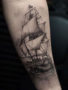 A ship tattoo can be depicted with a variety of different elements, includind anchors or compasses. Explore the 36 best ship tattoo designs and get inspired Forarm Tattoos, Body Art Tattoos, Cool Tattoos, Ankle Tattoos, Arrow Tattoos, Gun Tattoos, Mens Side Tattoos, Back Tattoos For Guys, Pirate Tattoo