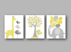 Lot de 3 illustrations pour chambre d'enfant et bebe jaune et gris elephant ballon