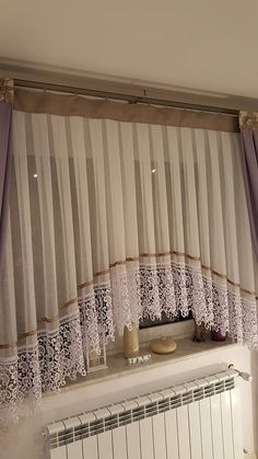 Pin on kitchen curtains Home Curtains, Curtains With Blinds, Kitchen Curtains, Window Curtain Designs, Curtain Styles, Rideaux Design, Living Room Decor, Bedroom Decor, Home And Deco