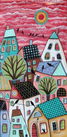 Patterned Roofs ORIGINAL CANVAS PAINTING 12x24 inch FOLK ART Abstract Karla G