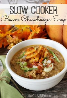 Delicious and hearty Crockpot Bacon Cheeseburger Soup - Slow Cooker Meals Made Easy