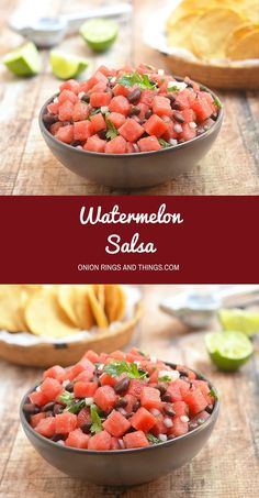 Watermelon Salsa is refreshing salsa made with juicy watermelon and black beans tossed with onions, cilantro, jalapenos and lemon juice