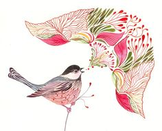 lace chickadee original watercolor, 8x10 by tevagallery on Etsy, $39