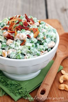 pea salad with bacon and cashews - simple, healthy, summery side dish!