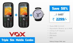 VOX Triple Sim Combo consists of 2 VOX 3 SIM V3100 phone and a beautifully designed watch. VOX V3100 is a bar phone which is able to run 3 GSM Sims. VOX Triple Sim phone V3100 supports Digital Camera, Bluetooth, Music Player, FM radio, 800 mAh battery and more. Avail this exclusive offer with us.