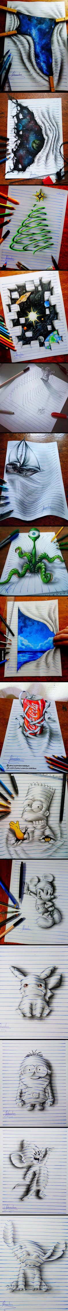 Drawing Doodles Sketches Artist João Carvalho Creates Doodles That Leap Off The Page - - More memes, funny videos and pics on 3d Drawings, Amazing Drawings, Amazing Art, Wow Art, Art Plastique, Painting & Drawing, Drawing Tips, Body Painting, Drawing Artist