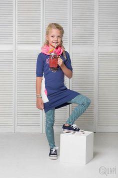Quapi | Dress Flower Jeans Blue | Legging Florijn 1 Moss Stripe | Scarf Faline 1 Sweet