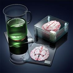 Подставки для напитков: мозг в разрезе