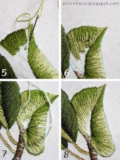 Magnolia Stitch Along Part 2 Long and short stitching of a leaf, needlepainting #embroidery #handembroidery #needlepainting #needlework #stitch #stitching