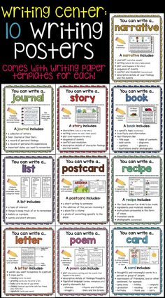 10 Writing Posters to use in Writer's Workshop writing centers! Also include… 10 Writing Posters to use in Writer's Workshop writing centers! Also includes writing paper templates for each type of writing! English Writing Skills, Writing Lessons, Teaching Writing, Writing Activities, Teaching Poetry, Writing Prompts For Kids, Writing Curriculum, Journal Prompts For Kids, Curriculum Mapping