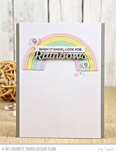 Rainbow of Happiness Stamp Set, Color the Rainbow Die-namics, Stitched Rainbow Die-namics - Joy Taylor  #mftstamps