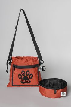 Red Ruff Pack Bag with Foldable Water Bowl