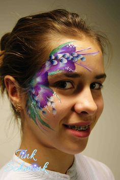 Flowers face painting by Tink Schmink