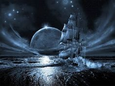 digital art, fantasy art, ghost ship series: full moon rising, george grie, x Weed Wallpaper, Gothic Wallpaper, Gothic Background, Mary Celeste, Sea Pirates, Moon Sea, Full Moon Rising, Ghost Ship, Ship Paintings