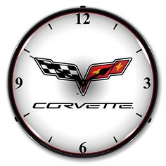 Wall Clocks Décor | Collectable Sign and Clock GM1103307 14 Corvette C6 Logo Lighted Clock -- You can get additional details at the image link. Note:It is Affiliate Link to Amazon.