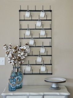 French Inspired Metal Bottle Drying Rack, Wall Rack, Mug Rack, Wall Decor #FrenchCountryFarmhouse