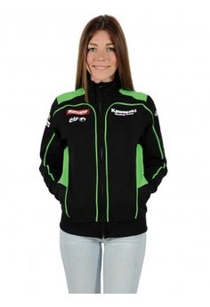 Kawasaki Sweatshirt Superbike for the woman. Black Sweatshirt with zip and green inserts on sides and shoulders.