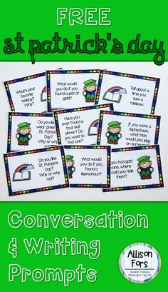 Includes 9 St Patrick's Day themed conversation questions in color and black & white. A NO PRINT option is included with 1 question per page to use on a Smartboard, computer, or tablet. Use for conversation skills, creative writing, group discussions, and more!