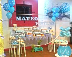Paal Uh.  Mesa de Postres : Snack's : dulces : botanas : candy bar : Sweet : wedding : Shower :  dessert table : decor : celebración : party : vintage :  boy : bautizo : osos : bear :