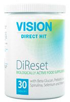 "DiReset helps restart and renew the immune system at all levels. It promotes formation of new immune cells, saturates them with nutrients and prolongs their biological life. The complex also elevates functionality of macrophages—cells of the 1st level of the immune cascade, that promote destruction of bacteria, viruses, fungi and parasites. Restores microflora balance in case of its disturbances, and maintains it at the necessary level thus stimulating ""intestinal immunity""."