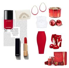 """""""Red is color of love :D"""" by eldina-salihovic ❤ liked on Polyvore featuring Posh Girl, Bebe, Jimmy Choo, Chanel, The Body Shop and Oscar de la Renta"""