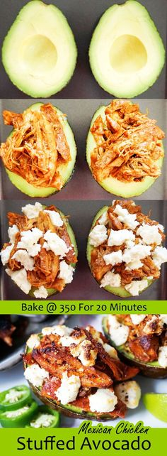 Mexican Stuffed Avocado with slow cooked shredded chicken