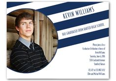Show off your favorite photograph on this graduation invitation with midnight stripes (other colors available). Graduation Invitations by Diva Designsmith, LLC #graduationsupplies #graduation #invitations #announcements #highschoolgraduate #collegegraduate #classof2016