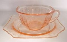 Pink Depression Glass Cup and Saucer Tea Cup Coffee by oldandnew8