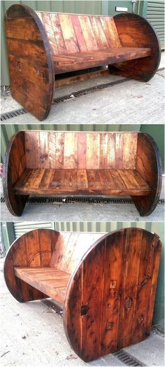 Wood pallet cable reel bench is a unique style which looks awesome when placed outdoor, it is comfortable for sitting as the back of the bench is slightly bent which helps in relaxing the back when a person sit on it. Wooden Pallet Projects, Wooden Pallet Furniture, Pallet Crafts, Wooden Pallets, Wood Crafts, Pallet Ideas, Pallet Couch, Pallet Tables, Furniture Ideas