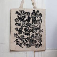 Our Workshop   Large Owl Tote Bag Black