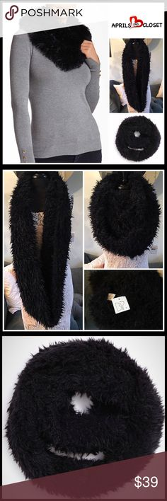 "Long Faux Fur Infinity Chunky SCARF 💟 NEW WITH TAGS 💟 Long Faux Fur Infinity Chunky SCARF          Retail Price: $58   * Super soft faux fur fabric  * Multicolor pattern     * Approx 32"" long X 8"" wide  * Cozy & versatile  Fabric- 100% Polyester Color- Black    Item# SEARCH# CHUNKY Crochet KNIT SCARF Long Cowl Infinity Neck 🚫No Trades🚫 ✅Offers Considered*✅  *Please use the blue 'offer' button to submit an offer. B.P. Nordstrom  Accessories Scarves & Wraps"