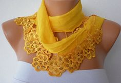 Yellow Scarf Cotton Scarf Headband Necklace Cowl with by fatwoman, $15.00.