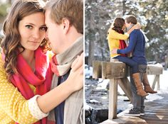 Winter Engagement - boots with sweaters scarf - pops of color Winter Engagement Photos, Engagement Shots, Engagement Outfits, Engagement Couple, Engagement Pictures, Wedding Engagement, Wedding Pictures, Winter Family Photography, Couple Photography