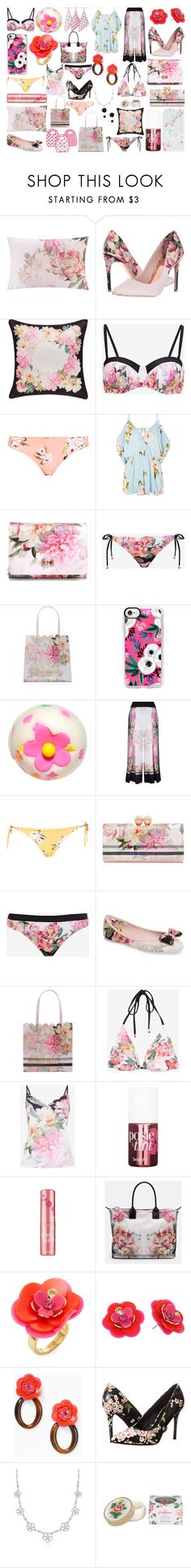 """""""A pocket full of posies."""" by brinsonkid ❤ liked on Polyvore featuring Ted Baker, Topshop, Casetify, Benefit, Aden + Anais, Kate Spade, Carlos by Carlos Santana, Ross-Simons and Cath Kidston"""