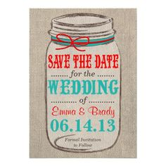 Rustic Burlap & Mason Jar Wedding Save the Date Personalized Invites