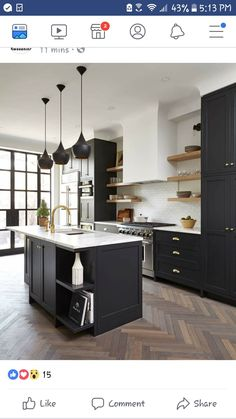 Design inspo: Beautiful black kitchens - STYLE CURATOR Designing a new kitchen and thinking of using black cabinets? We love the impact of black, it can suit a range of styles. Here are the best black kitchens Kitchen Cabinet Remodel, Home Kitchens, Black Kitchen Cabinets, Kitchen Inspirations, Kitchen Renovation, Kitchen Flooring, New Kitchen Cabinets, Kitchen Interior, Interior Design Kitchen