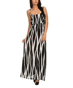 Pretty Young Thing Black & White Geometric Maxi Dress | zulily