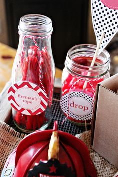 cute party with red/white chevrons, burlap, black/white polka dots, and stop drop and roll theme -- love for food ideas