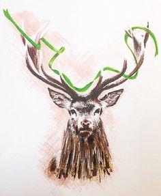 ✨  Merry Christmas from Bill Skinner! ✨ #BillSkinner #MerryChristmas #Stag #illustration