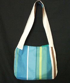 Blue and Green Stripe Hobo Bag  https://www.etsy.com/listing/162897120/sale-blue-and-white-vertical-stripe?