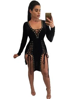 Eyelet Lace Up Double Slit Club Dress_Club Dress_Clubwear Clothing_Sexy Lingeire | Cheap Plus Size Lingerie At Wholesale Price | Feelovely.com