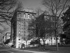 A 1966 image of the former Hotel Richmond, which is today used by the state as its Ninth Street Office Building. The hotel, adjacent to Capitol Square, was established in 1904 by Adeline Atkinson at the location of the former St. Clare Hotel after she came to a favorable tax arrangement with the city.