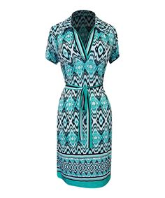 Love this Bonmode Aqua & Black Tribal Tie-Waist Notch Neck Dress by Bonmode on #zulily! #zulilyfinds